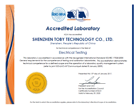 TOBY Lab Accredited by A2LA and became an FCC Accredited Lab